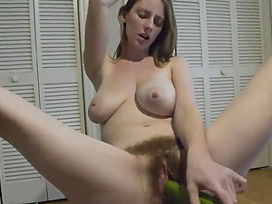 Hairy Blonde Teen Big Tits Masturbating With Vegetal