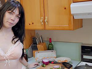 POV video or room-mate Leda Bear giving a titjob and eating cum