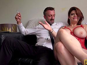 Candice Banks and Lucia Love enjoy having BDSM FFM threesome