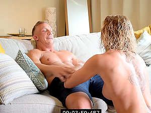 Quickie fucking in the living-room with hot ass model Victoria May