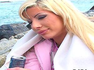Barcelona Public Fuck for Horny Blonde Fuckslut Sandra Parker in Point of view