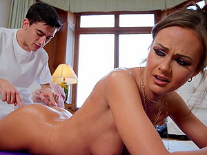 Hardcore fucking on the floor with a facial ending for Tina Kay