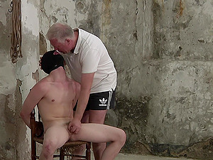 Skinny dude tied up and gets his ass drilled by a pervert