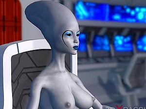 Sci-fi female alien plays with a black girl