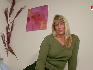 Germam blonde ugly housewife at casting