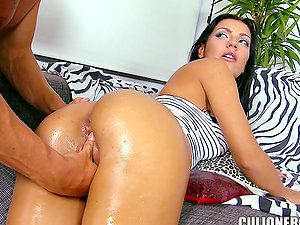 Gorgeous dark haired Honey Demon squeals noisily while having ass-fuck fuck-a-thon