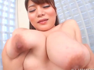 Japanese chick with fat breasts gives excellent boob job