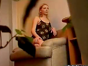 Kinky Blonde Getting off On The Stairs in Hidden cam Web cam