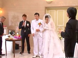 Japanese bride gets fucked by a few boys after the ceremony