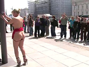 German bitch gets tantalized and fucked in public