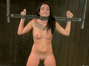 Tattooed Aria Aspen gets clothespinned and toyed rough
