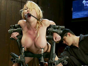 Blonde with Big Tits Madison Scott Nip Tantalized and Toyed in Domination & submission Clip