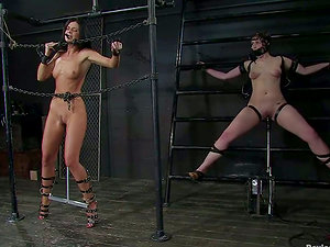 Two hot chicks get tied up and tormented in amazing Sadism & masochism clip