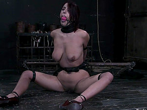 Ball-gagged Lavender Rayne gets hit by electro-therapy