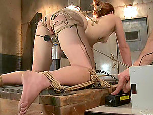 Servant Claire Robbins gets toyed and fucked by a fellow in mask