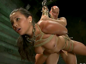 Huge-titted Adrianna Luna gets tied up and pounded rough