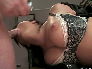 Moments of hell for a gorgeous black-haired Eva Angelina