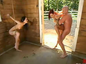 Restrain bondage Plays and Bondage & discipline Fucky-fucky in a Farm with Two Hot Subjugated Honeys