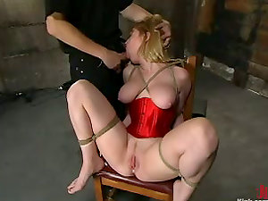 Banging a Tattooed Subjugated Blonde in Restrain bondage Flick