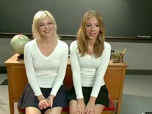 Nice blonde dolls in school uniform get penalized