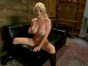 Big boobed Sophie Dee with a fuck stick in her caboose gets plowed