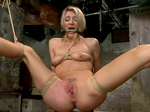 Amanda Tate gets her poundable cunt drilled with fucktoys in Bondage & discipline scene