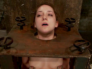 Beautiful siren gets trapped in the box and made to deepthroat a dick