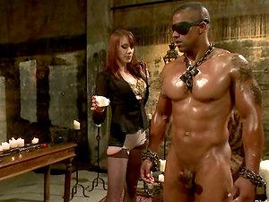 Big Fellow Getting Predominated by Kinky Bitch Maitresse Madeline in Restrain bondage Vid