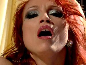 Divine Ginger-haired Nicki Hunter Masturbates Her Pierced Smooth-shaven Cootchie