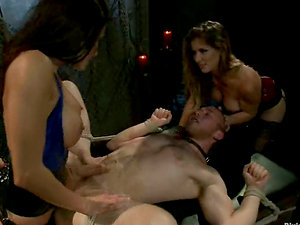 Strapon Fucked Boy Gets Face Sitted and Jizz-shotgun Ridden by Two Damsels