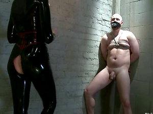 Spandex Clad Bitch Maitresse Madeline Pegging in Female dom Restrain bondage Movie
