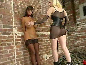 Lewd blonde Cowgirl whips gorgeous brown-haired Summer Cummings in Bondage & discipline vid