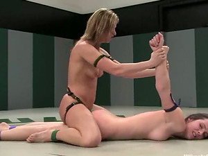 Kinky and slender honies Ariel X and Winter Sky are in a fight