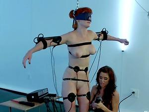 Electrical Torment for Blinded Audrey Hollander in Female domination Restrain bondage vid