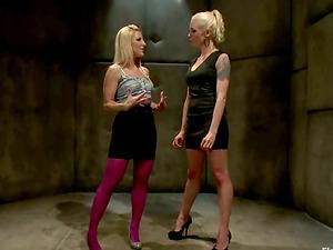 Blonde Ashley Fires Toyed and Predominated in Restrain bondage Sapphic Movie