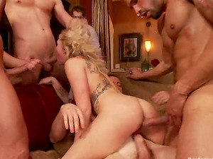 Nasty Blonde Zoey Monroe Getting Five Schlongs in All Fuck-holes in Gang-bang