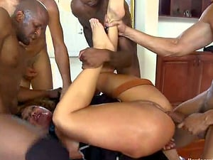 Insatiable Tramp Ava Devine Luvs Five Black Man sausage Interracial Group sex