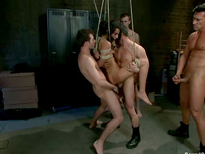 Amazing Lou Charmelle gets bounded and fucked by four studs