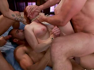 Audrey Hollander gets bounded and fucked by four studs