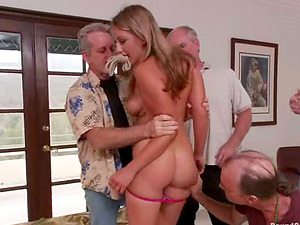 Bootylicious blonde gets bounded and fucked by old guys