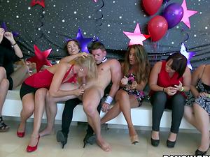 Ladies Having Joy Sucking Shaft in Wild CFNM Soiree with Masculine Strippers