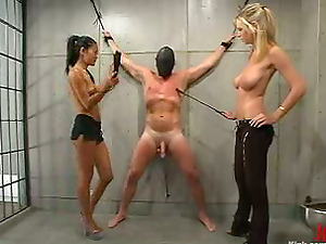 Asian and Blonde Predominate and Strapon Fuck Him in Female dominance Foot worship