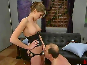 Beautiful Audrey Leigh Predominates and Strapon Fucks an Gross Old Man