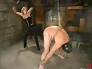 Tied Up Masked Marionette Getting Spanked in Female dom by Kinky Tramp