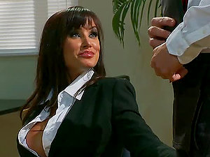 Lisa Ann Shares a Manstick with Nikki Benz After Providing Head to Another Penis