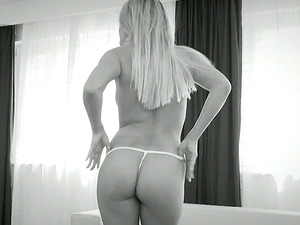 Assfuck Point of view Fucking for Blonde Barra Brass in Black and Milky Flick