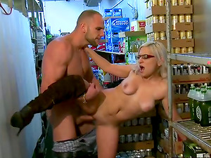 Whorey blonde mummy Dee gets fucked and facialed in a shop