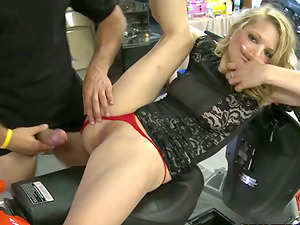Hot bitch gets picked up and fucked in a bikers' shop