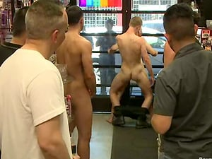 Movie store fag fucking with some fetish fags