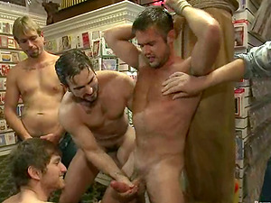 Mike de Marko gets fucked rough by studs in a shop